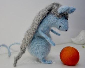 Blue Mice, Mouse, Mus,wool, mohair, amigurumi, stuffed toys ,gift,interior