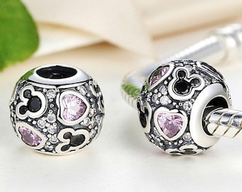Silver charms Authentic Sterling Silver Beads light purple mickey Beads with Clear Cubic Zirconia Charm Fits European Pandora Charm Bracelet