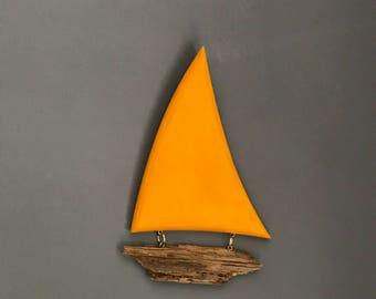Decorative  Driftwood Sail Boat Wall Hanging