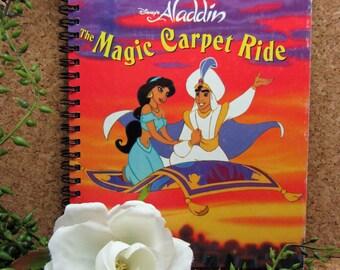 Disney's Aladdin: Magic Carpet Ride, Little Golden Book, Handmade Re-purposed Wire-Bound, Journal, Sketchbook, Disney Autograph Book