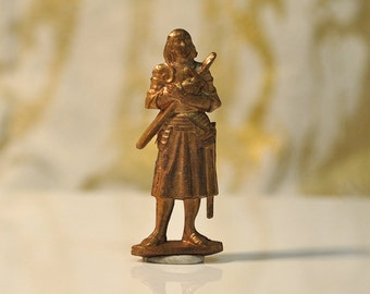 Vintage French 3D Pocket Statue Joan of Arc Christian Saint Raw Brass Medieval Woman Warrior 80 - 81J