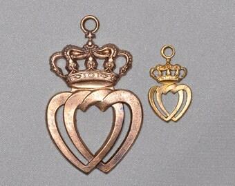 Vintage Made in France Celtic Luckenbooth Scottish Medal Locked Crowned Double Heart Pendant 366J 473J