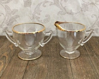 Vintage Glass Sugar and Creamer Set with Gold Trim