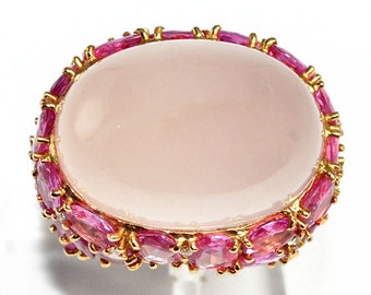 Ring gold yellow 18K adorned with rose quartz Ruby and central