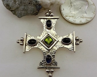 Peridot, Kyanite, Textured Handcrafted Inspirational Sterling Silver Cross Pendant