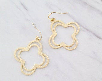 Gold Clover Earrings | Brushed Gold Earrings | Boho Earrings | Simple Dainty Earrings