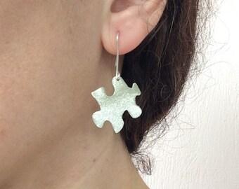 Puzzle earrings, Sterling silver earrings, dangling puzzle earrings