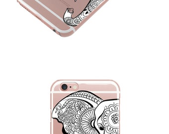Mandala Elephant TPU Clear iPhone 7 Case, iPhone 6 Case , iPhone Cases, Rubber Case, Galaxy S7 Case, Galaxy S7 Edge Case -35