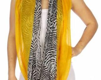 Zebra Print Scarf Yellow Infinity Scarf Mustard Scarf Animal Print Scarf Loop Scarf Wrap Scarf Womens Scarf Two Tone FREE U.S. SHIPPING