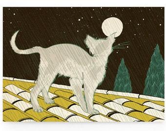 Illustrated postcard postcard illustrated -» Katzeim rain «» cat «-unprinted greeting, greeting card, back side (DIN A6, 300 g, nature carton)».