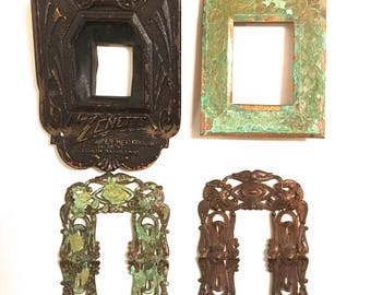 Large Frames Set-Vintage Metal Findings-Jewelry, Crafts Supply- raw brass-1 lot (4 pcs)