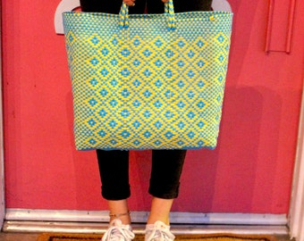 blue and yellow hand woven tote bag