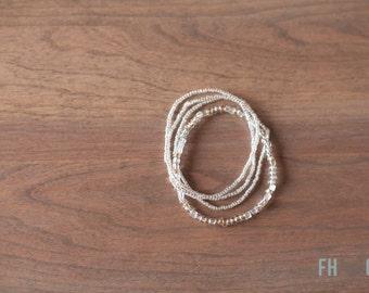 CRYSTAL and Glass Beaded Bracelets - Set of 4