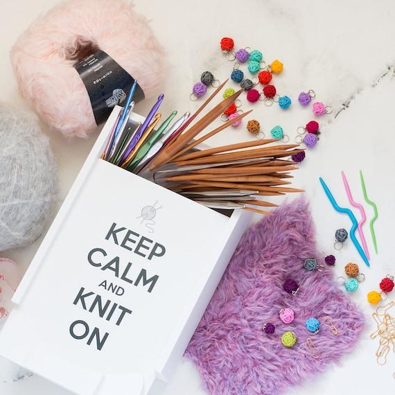 Knitting Needle Storage Box : Knitting storage box knitters gift needles white