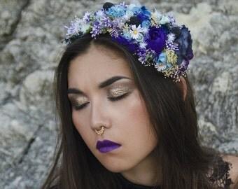 Blue/purple/white romantic meadow flower headband