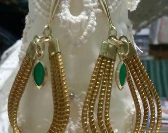 Teardrop shaped hanging green charm gold color pierced earrings