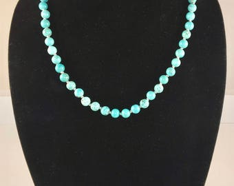 Hand-knotted Turquoise Dyed Howlite Stone Necklace