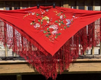 Antique Vintage Red Silk Embroidered Flower Long Fringe Piano Shawl