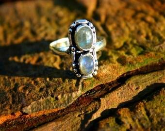 The Soliel Ring - Firey Labradorite silver ring