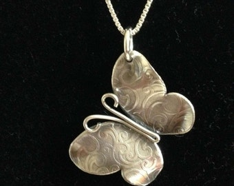 Butterfly Pendant/Necklace // Beautiful Textured Sterling Silver