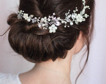 Bridal Headpiece Bridal Hair Piece Bridal Headdress Large Decorative Hair Comb Low Bun Hair Vine Back Headpiece Over Bun Hair Comb Flower