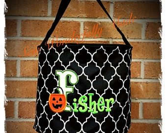 Embroidered Halloween Bucket, Personalized Halloween Tote, Trick or Treat Bag, Quatrefoil Halloween Tote, Halloween Bag, Personalized Tote