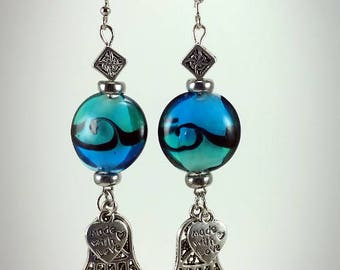 Blue Waves with Silver Hamsa Earrings