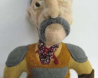 Needle felted Cossack. Wool sculpture.