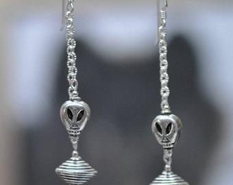 Sterling Silver Flying Saucer UFO Alien double dangle Earrings