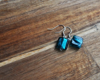 Blue / Teal Square Murano Glass Earrings