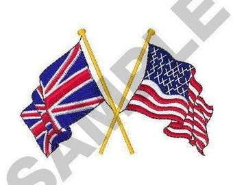 Great Britain And American Flags - Machine Embroidery Design