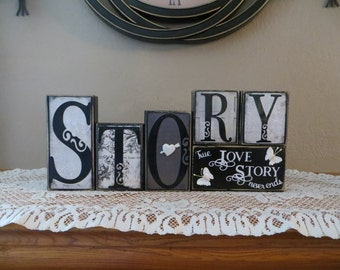 Life Love Story Love Word Blocks True Love Home Decor