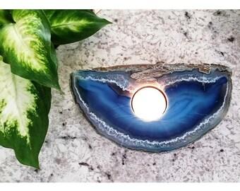 Vintage Sliced Natural Crystal Agate Candle Holder
