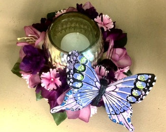 Purple Butterfly Candle