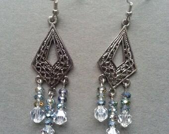 Silver Filigree Crystal Chandelier Earrings
