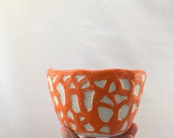 Orange relief Ceramic Bowl