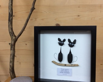 PebbleArt picture, gifts for her, cat picture, unique gift, cat art, animal art