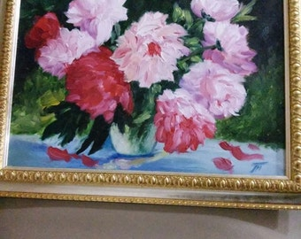 Bouquet of peonies oil painting in frame 30*40