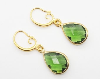 Crystal Teardrop Earrings - Green, Amber, Blue and Champagne