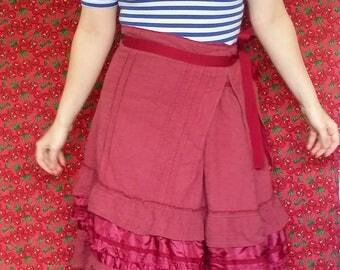 Vintage Charlie Brown Maroon Ruffled Boho Prairie Midi Skirt 90's