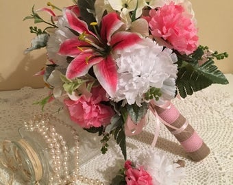 FREE SHIPPING Wedding Bouquet,Boutonniere, Bridesmaid Bouquet, Silk Flower Bouquet, Carnation Bouquet, Pink Bouquet, Beach Bouquet