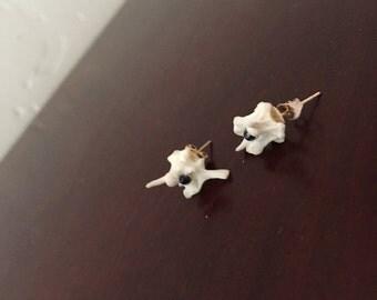 snake vertebrae beaded stud earrings
