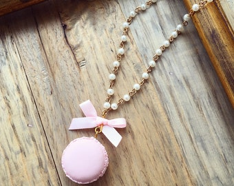 Pastel Macaroons necklace, Cute necklace with polymer clay macaron and bow, Miniature food
