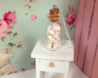 Jar of Marshmallows Necklace, Cute Necklace with Miniature Pastel Marshmallows in a Glass Jar, Miniature Food