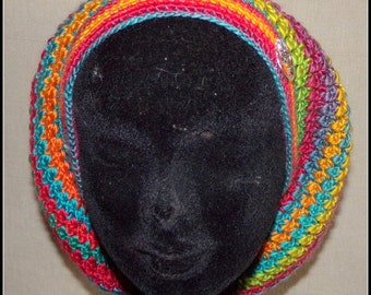 beret crochet in multicolored wool decorated by a fairy in a moon metal