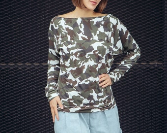 Longshirt 'Camou' camouflage Jersey top