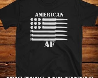 American As Fcuk, American AF, Bullet Tee Shirt Patriotic Awesome! USA USA Trump