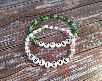 BELIEVE Bracelet - Inspirational Bracelet - Inspirational Jewellery -  Faith Jewellery - Glass Seed Bead Bracelet - BELIEVE Bead Bracelet