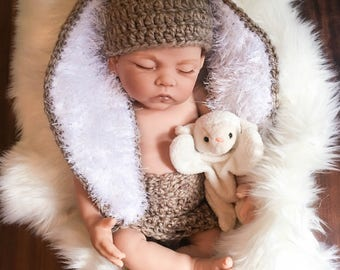 Newborn Bunny Set, Newborn Bunny Hat and Diaper Cover, Newborn Photography, Easter Photo Prop