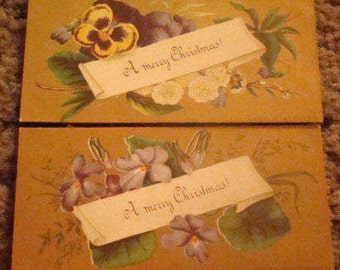 SALE 2 Pieces of Victorian Scrap (Flowers/ Christmas Greetings)